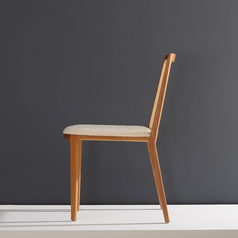 Modern Minimal Style, Solid Wood Chair, Special Textile Seating, Caning Backboard For Sale