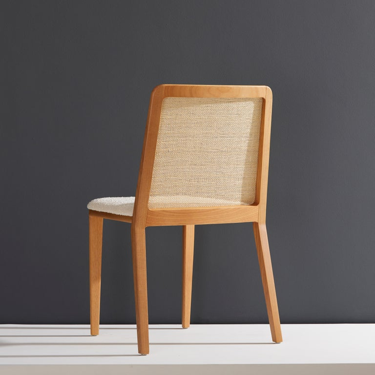 Brazilian Minimal Style, Solid Wood Chair, Special Textile Seating, Caning Backboard For Sale