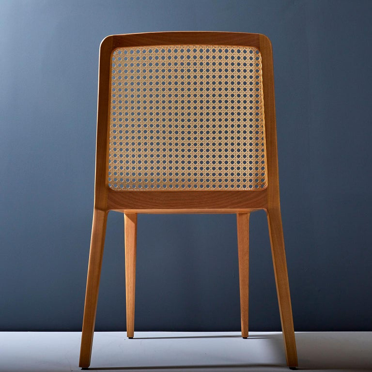 Minimal Style, Solid Wood Chair, Leather Seating, Caning Backboard In New Condition For Sale In Sao Paolo, SP