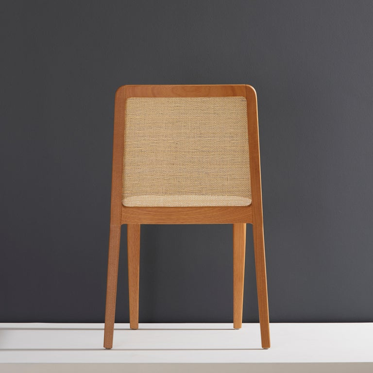 Minimal Style, Solid Wood Chair, Special Textile Seating, Caning Backboard In New Condition For Sale In Sao Paolo, SP