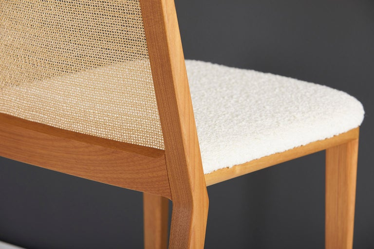 Contemporary Minimal Style, Solid Wood Chair, Special Textile Seating, Caning Backboard For Sale