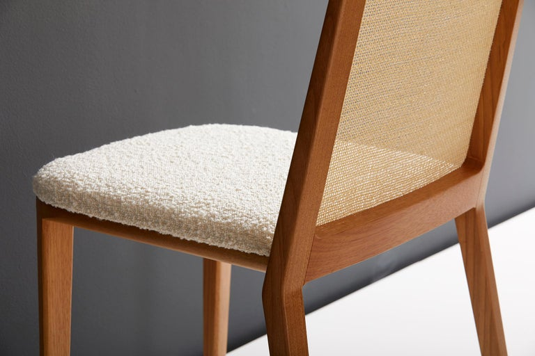Leather Minimal Style, Solid Wood Chair, Special Textile Seating, Caning Backboard For Sale