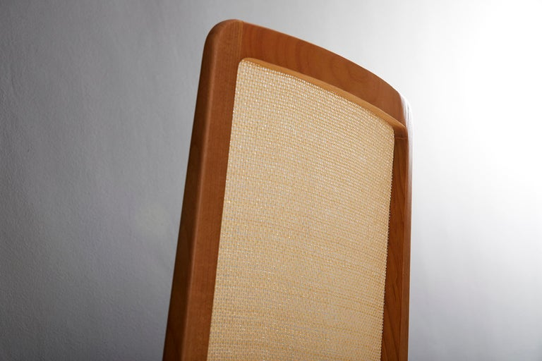 Minimal Style, Solid Wood Chair, Special Textile Seating, Caning Backboard For Sale 1
