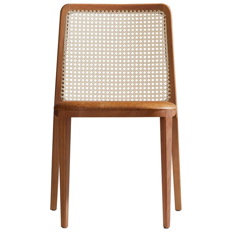 Minimal Style, Solid Wood Chair, Leather Seating, Caning Backboard For Sale