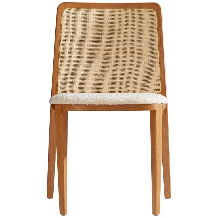Minimal Style, Solid Wood Chair, Special Textile Seating, Caning Backboard For Sale