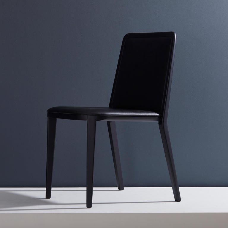Modern Minimal Style, Solid Wood Chair, Leather Seating, Upholstered Backboard For Sale