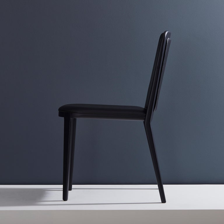 Brazilian Minimal Style, Solid Wood Chair, Leather Seating, Upholstered Backboard For Sale