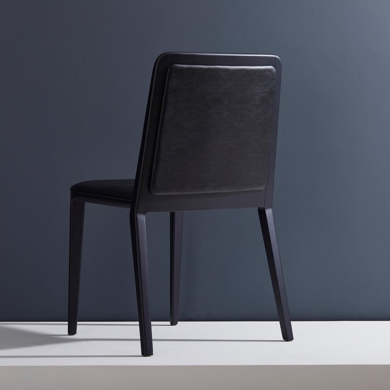 Minimal Style, Solid Wood Chair, Leather Seating, Upholstered Backboard In New Condition For Sale In Sao Paolo, SP