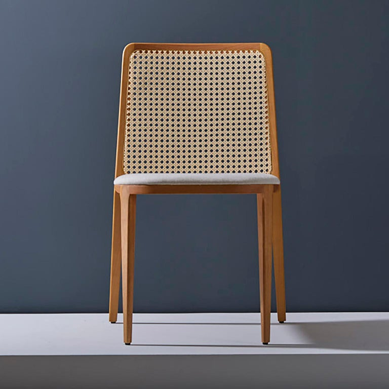 Contemporary Minimal Style, Solid Wood Chair, Leather Seating, Upholstered Backboard For Sale