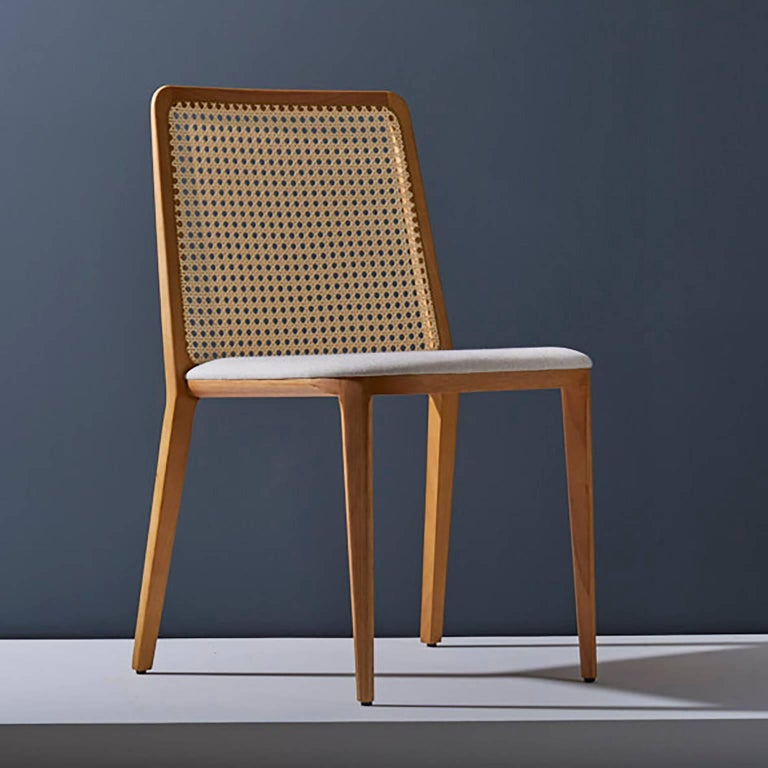 Minimal Style, Solid Wood Chair, Leather Seating, Upholstered Backboard For Sale 1