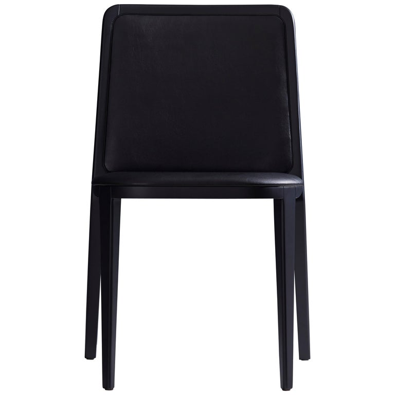 Minimal Style, Solid Wood Chair, Leather Seating, Upholstered Backboard For Sale