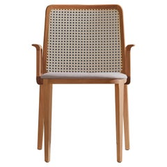 Minimal Style, Solid Wood Chair, Textile Seating, Caning Backboard, with Arms
