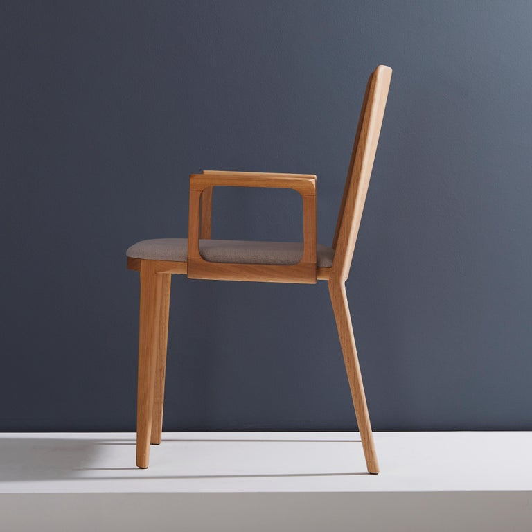 Modern Minimal Style, Solid Wood Chair, Textile Seating, Solid Backboard, with Arms For Sale