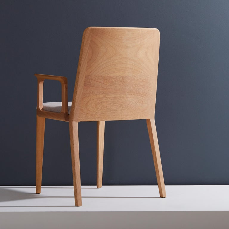 Brazilian Minimal Style, Solid Wood Chair, Textile Seating, Solid Backboard, with Arms For Sale