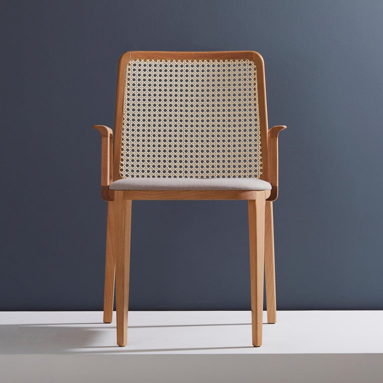 Caning Minimal Style, Solid Wood Chair, Textile Seating, Solid Backboard, with Arms For Sale