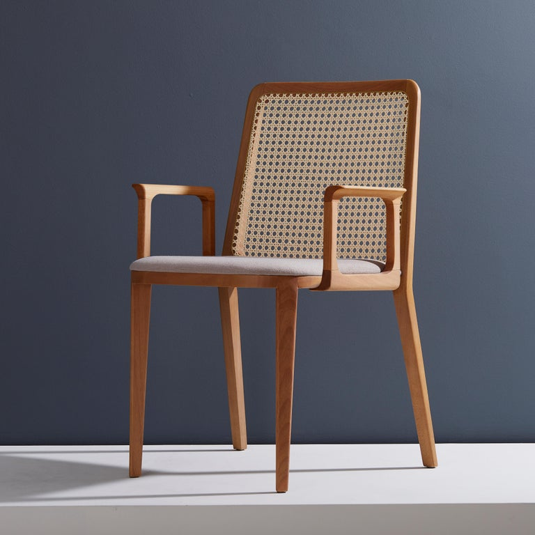 Minimal Style, Solid Wood Chair, Textile Seating, Solid Backboard, with Arms In New Condition For Sale In Sao Paolo, SP