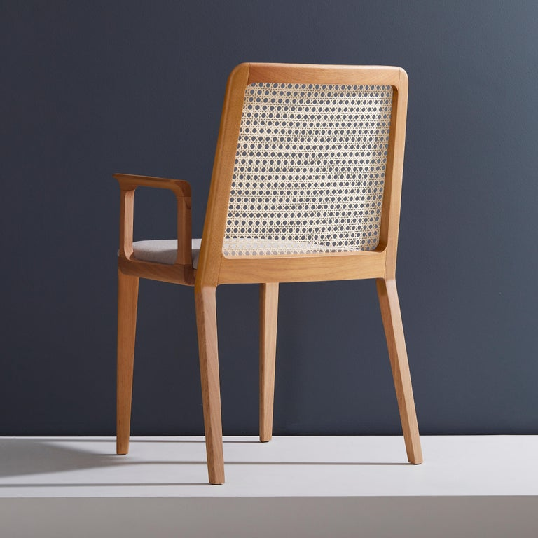 Contemporary Minimal Style, Solid Wood Chair, Textile Seating, Solid Backboard, with Arms For Sale