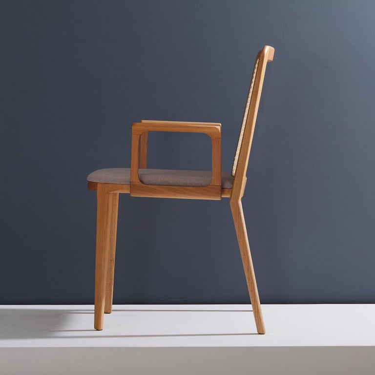 Minimal Style, Solid Wood Chair, Textile Seating, Solid Backboard, with Arms For Sale 1
