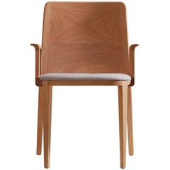 Minimal Style, Solid Wood Chair, Textile Seating, Solid Backboard, with Arms