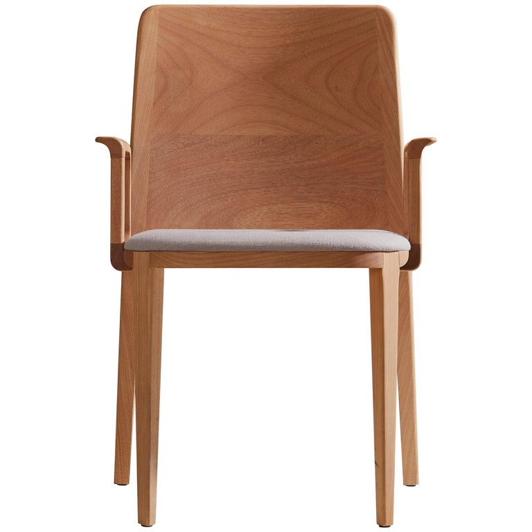 Minimal Style, Solid Wood Chair, Textile Seating, Solid Backboard, with Arms For Sale
