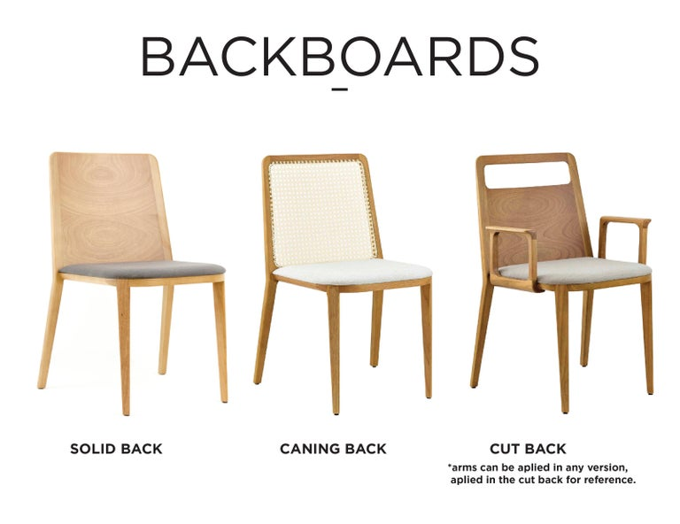 Minimal style, solid wood chair, textiles or leather seatings, caning backboard For Sale 8