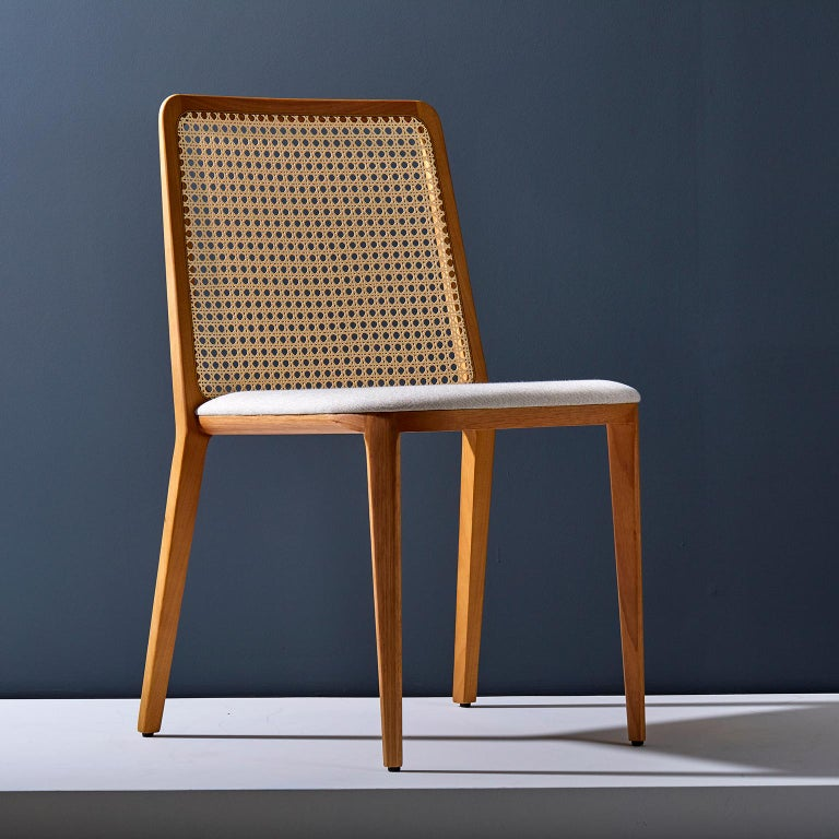 Modern Minimal style, solid wood chair, textiles or leather seatings, caning backboard For Sale
