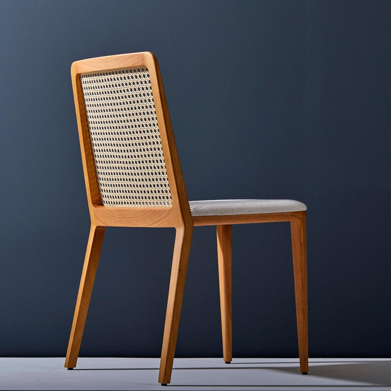 Brazilian Minimal style, solid wood chair, textiles or leather seatings, caning backboard For Sale