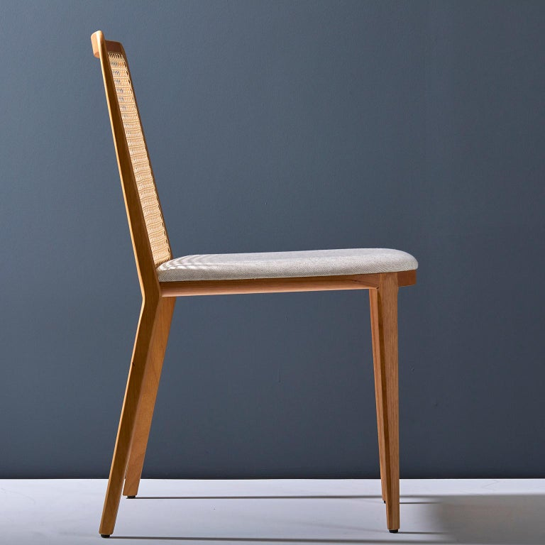 Minimal style, solid wood chair, textiles or leather seatings, caning backboard In New Condition For Sale In Sao Paolo, SP