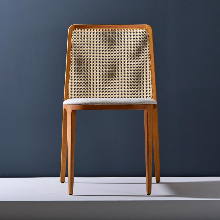 Contemporary Minimal style, solid wood chair, textiles or leather seatings, caning backboard For Sale