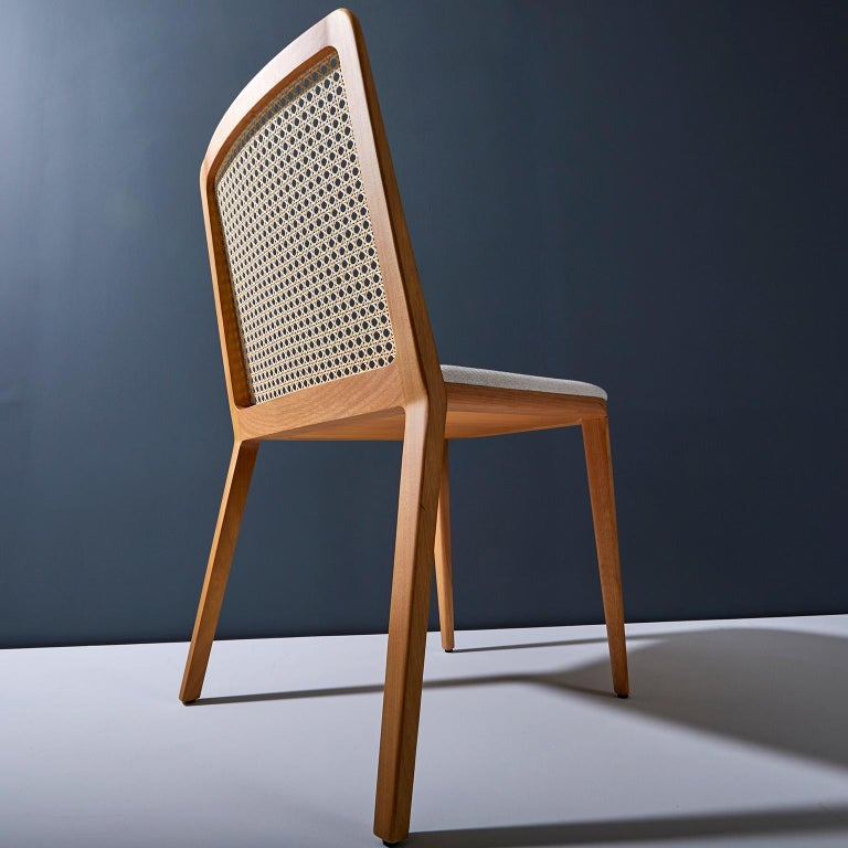 Minimal style, solid wood chair, textiles or leather seatings, caning backboard For Sale 1