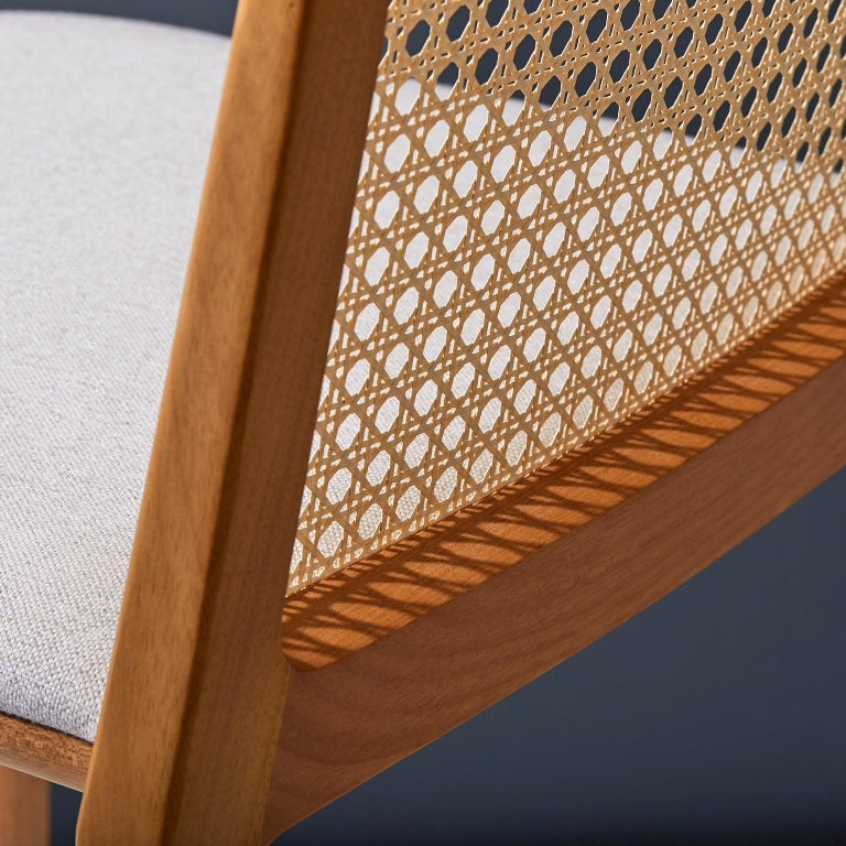 Minimal style, solid wood chair, textiles or leather seatings, caning backboard For Sale 2