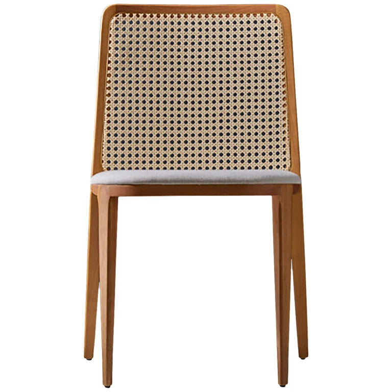 Minimal style, solid wood chair, textiles or leather seatings, caning backboard For Sale