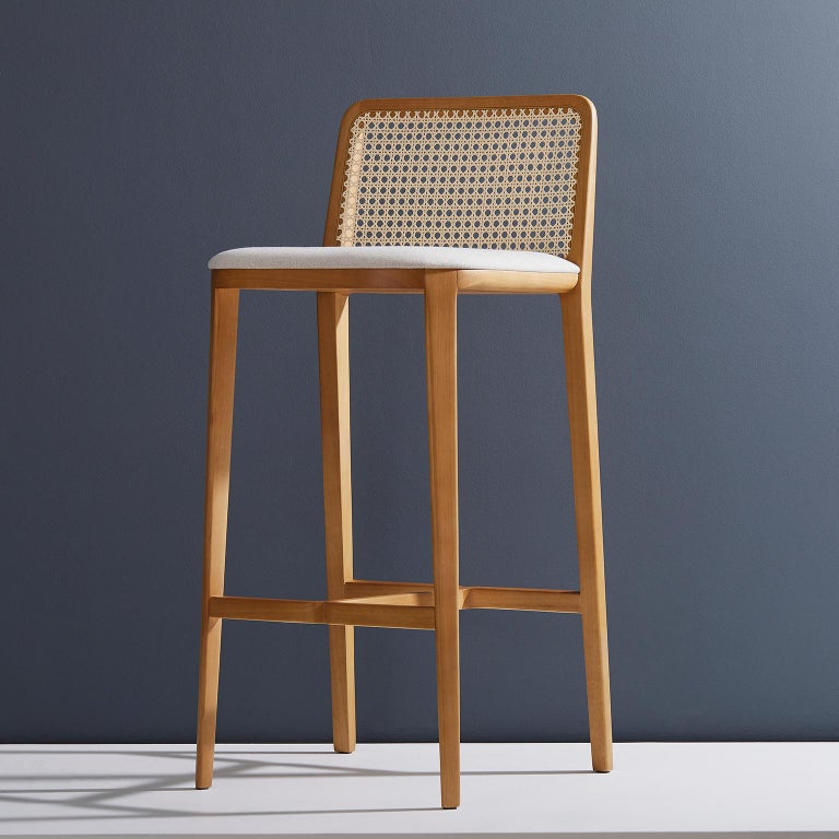 Minimal Style, Solid Wood Stool, Bar or Counter Hight, Caning and Leather For Sale 5