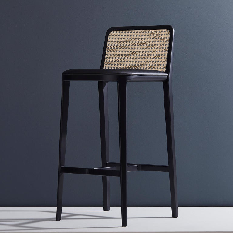 Minimal Style, Solid Wood Stool, Bar or Counter Hight, Caning and Leather For Sale 6