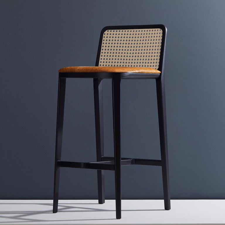 Minimal Style, Solid Wood Stool, Bar or Counter Hight, Caning and Leather For Sale 7