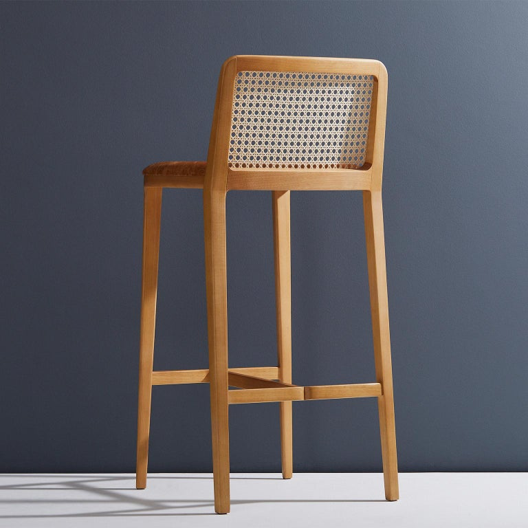 Brazilian Minimal Style, Solid Wood Stool, Bar or Counter Hight, Caning and Leather For Sale