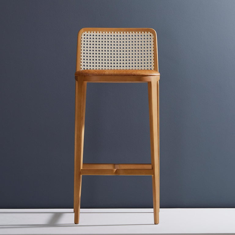 Minimal Style, Solid Wood Stool, Bar or Counter Hight, Caning and Leather In New Condition For Sale In Sao Paolo, SP