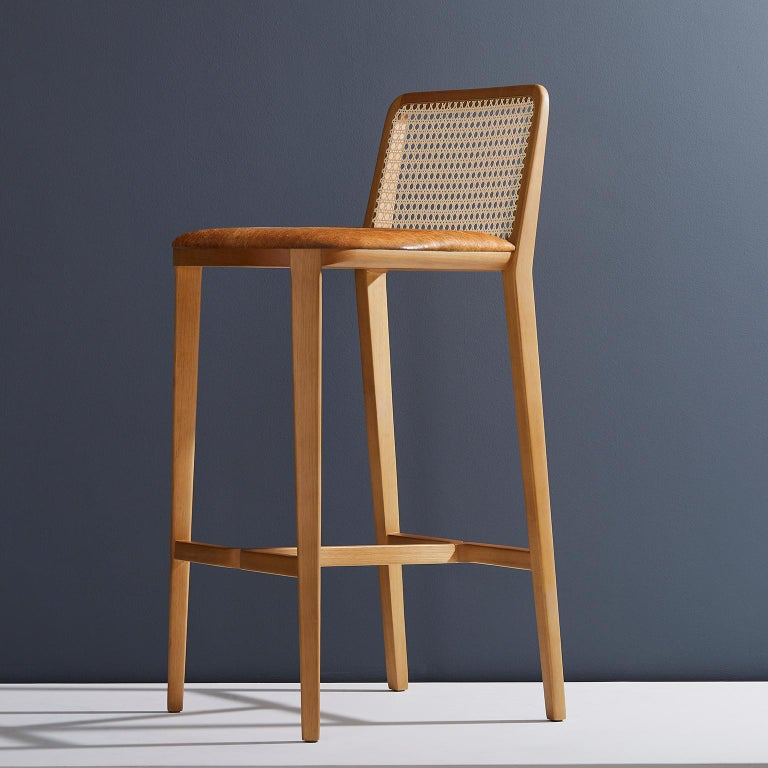 Contemporary Minimal Style, Solid Wood Stool, Bar or Counter Hight, Caning and Leather For Sale