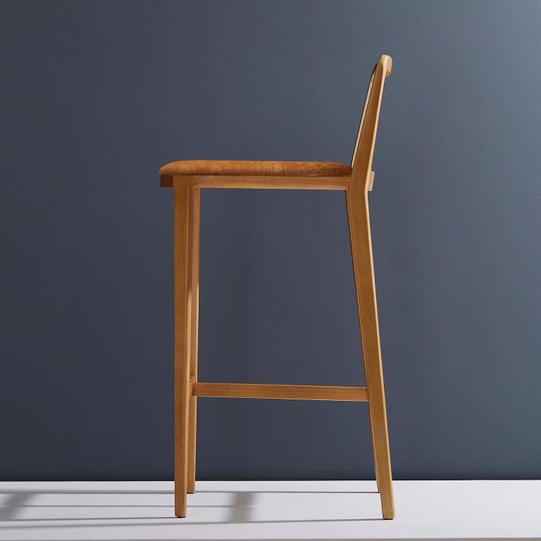 Textile Minimal Style, Solid Wood Stool, Bar or Counter Hight, Caning and Leather For Sale
