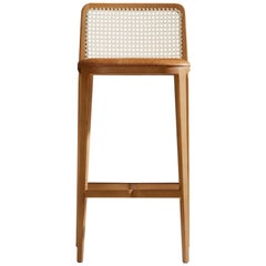 Minimal Style, Solid Wood Stool, Bar or Counter Hight, Caning and Leather