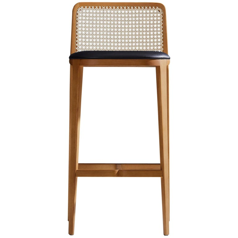 Minimal Style, Solid Wood Stool, Bar or Counter Hight, Caning and Leather For Sale