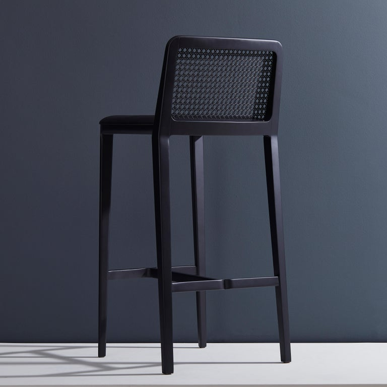 Modern Minimal Style,  Bar Stool in Solid wood, Textiles or Leather Seat, Black finish For Sale