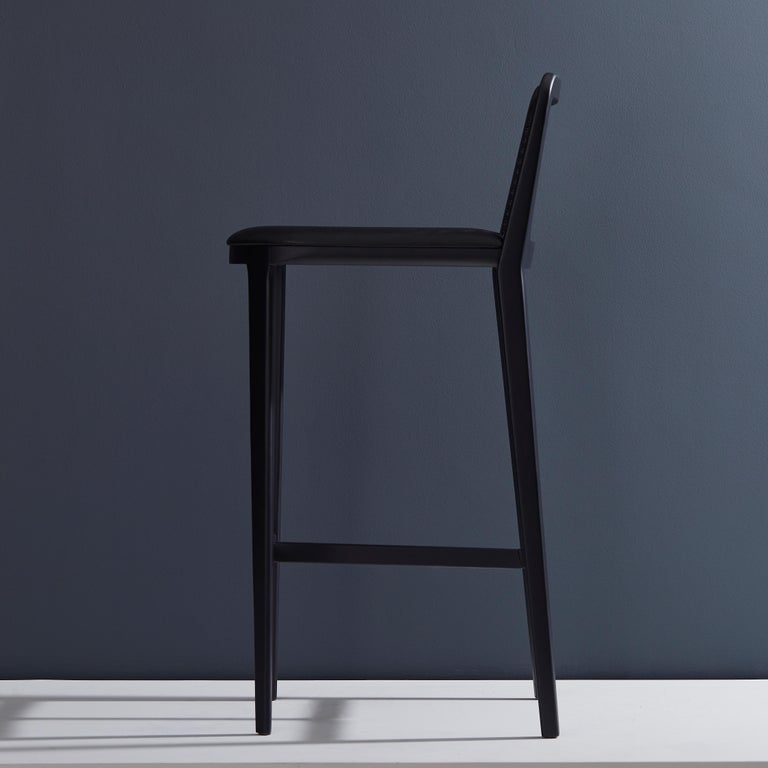 Brazilian Minimal Style,  Bar Stool in Solid wood, Textiles or Leather Seat, Black finish For Sale