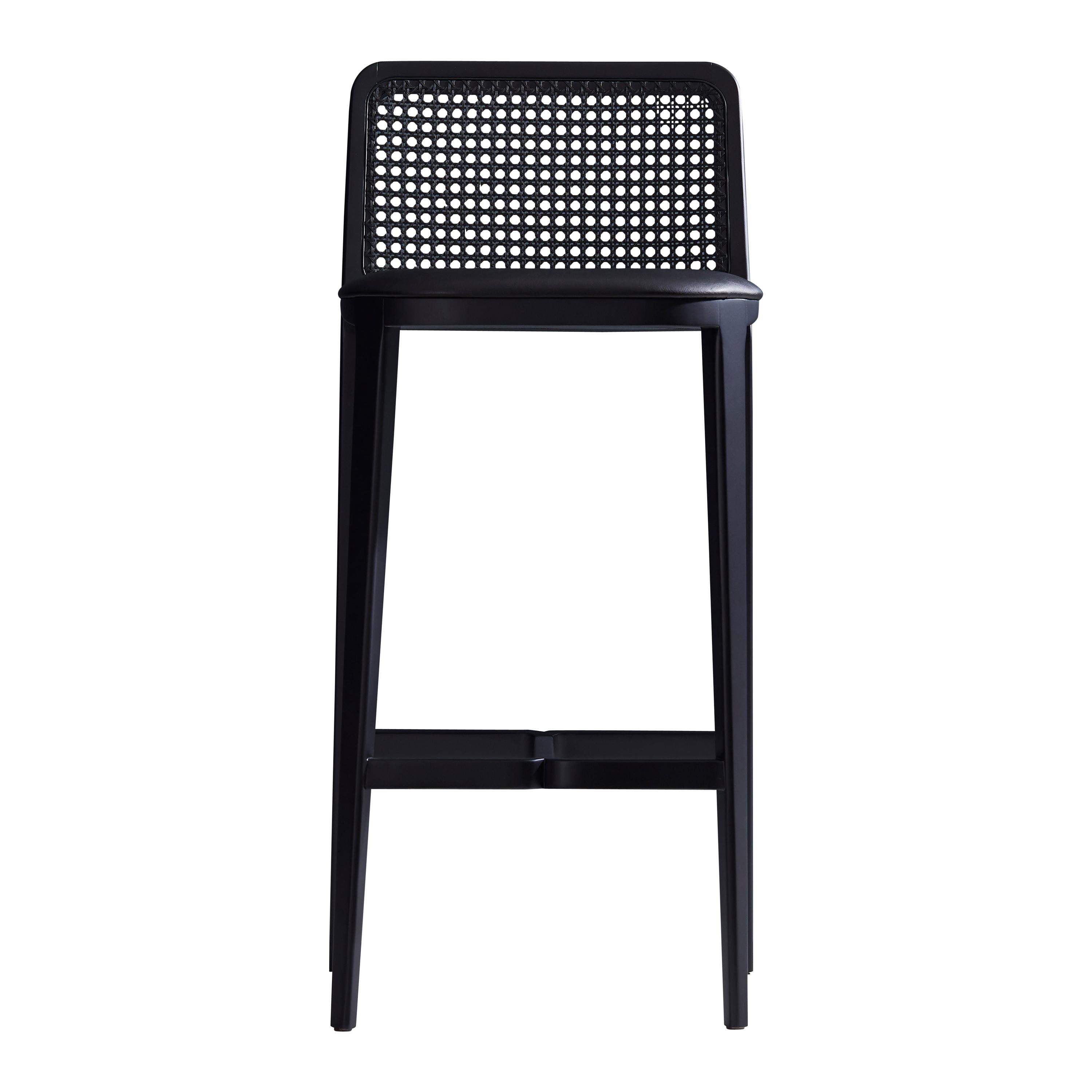 Minimal Style Bar Stool In Solid Wood Textiles Or Leather Seat Black Finish For Sale At 1stdibs
