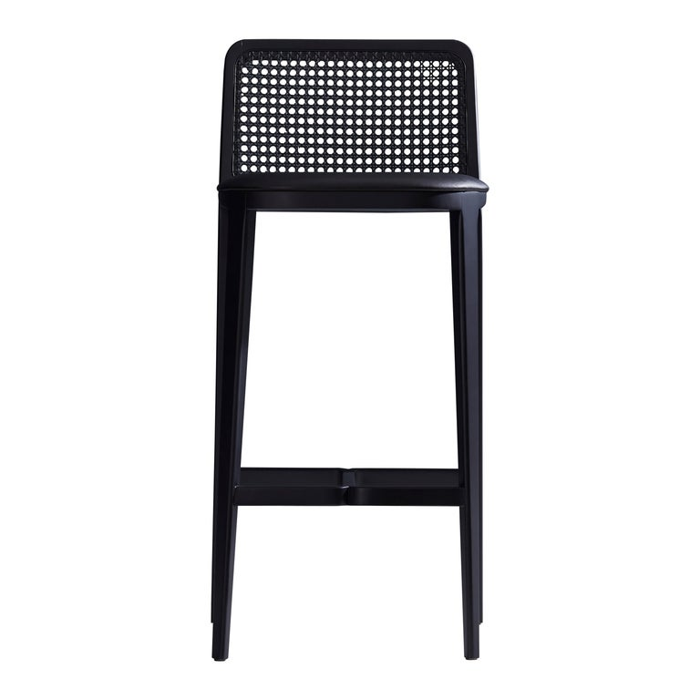 Minimal Style,  Bar Stool in Solid wood, Textiles or Leather Seat, Black finish For Sale