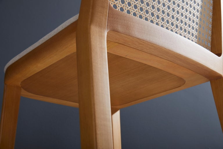 Minimal Style, Solid Wood Stool, Textiles or Leather Seatings, Caning Backboard For Sale 5