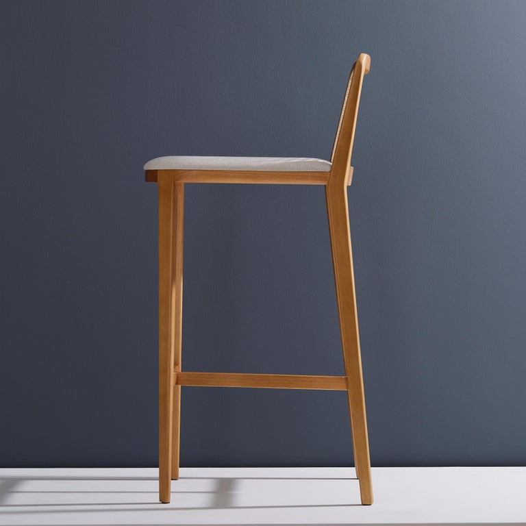 Brazilian Minimal Style, Solid Wood Stool, Textiles or Leather Seatings, Caning Backboard For Sale