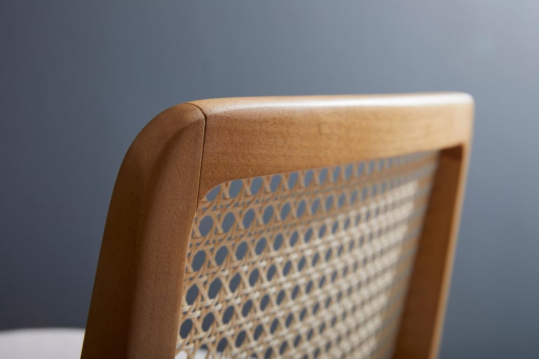 Minimal Style, Solid Wood Stool, Textiles or Leather Seatings, Caning Backboard For Sale 2