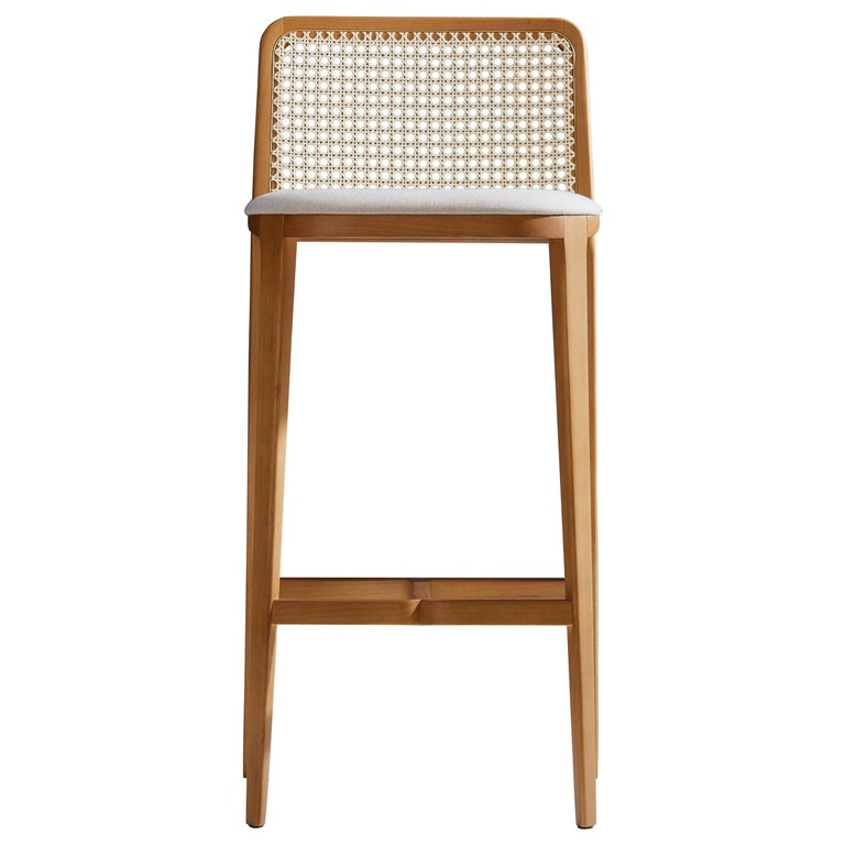 Minimal Style, Solid Wood Stool, Textiles or Leather Seatings, Caning Backboard For Sale