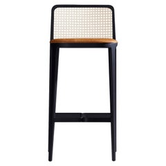 Minimal Style, Solid Wood Stool, Textiles or Leather Seatings, Caning Backboard